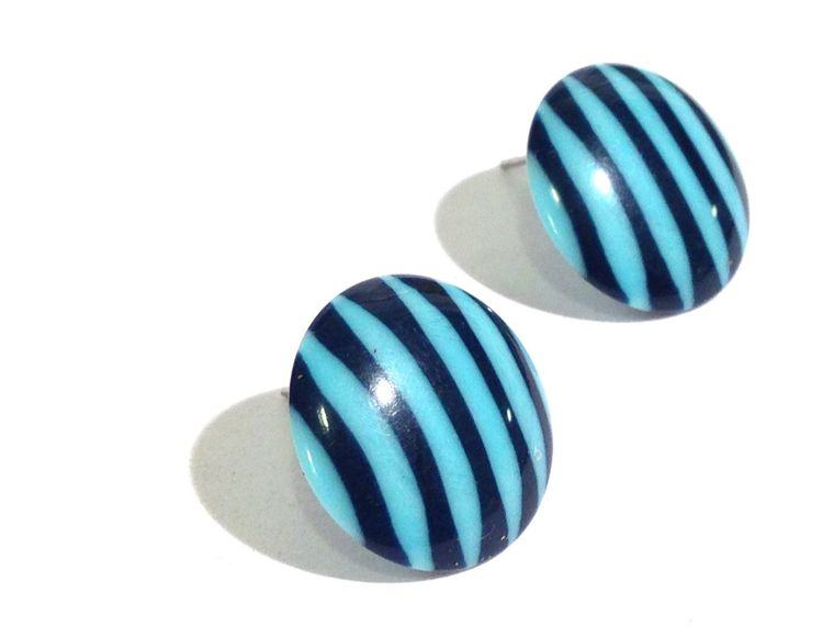 Blue & Turquoise Pin Striped Button Posties - retro lucite post earrings