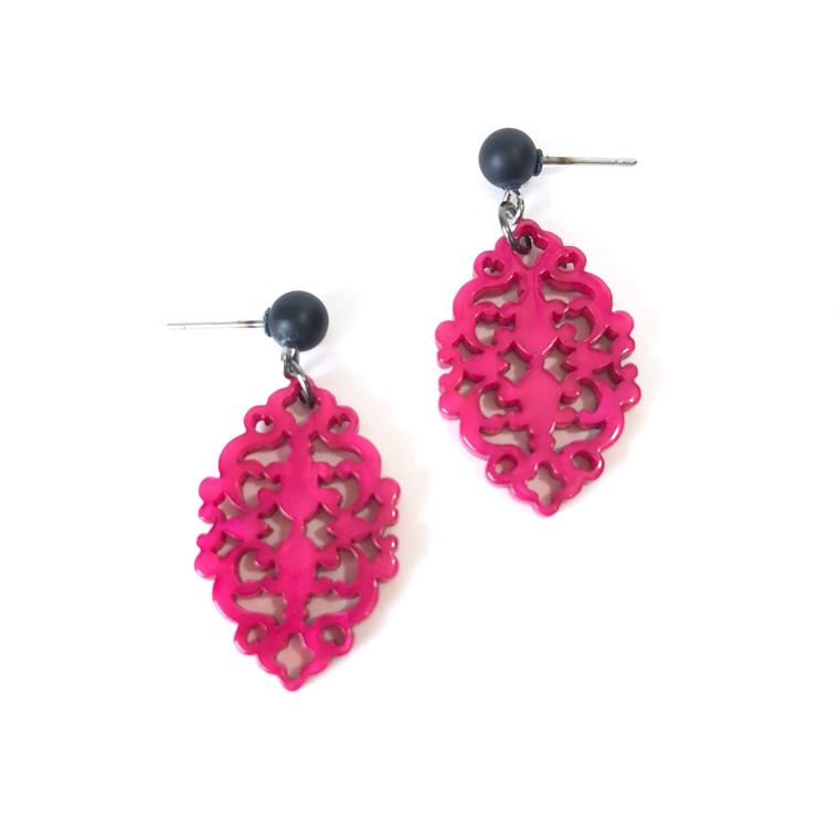 Fuchsia Glow Diamante Drop Earrings | Bohemian Lace Cut Resin Earrings | Laser Cut Resin & Vintage Lucite Drop Earrings Leetie Lovendale