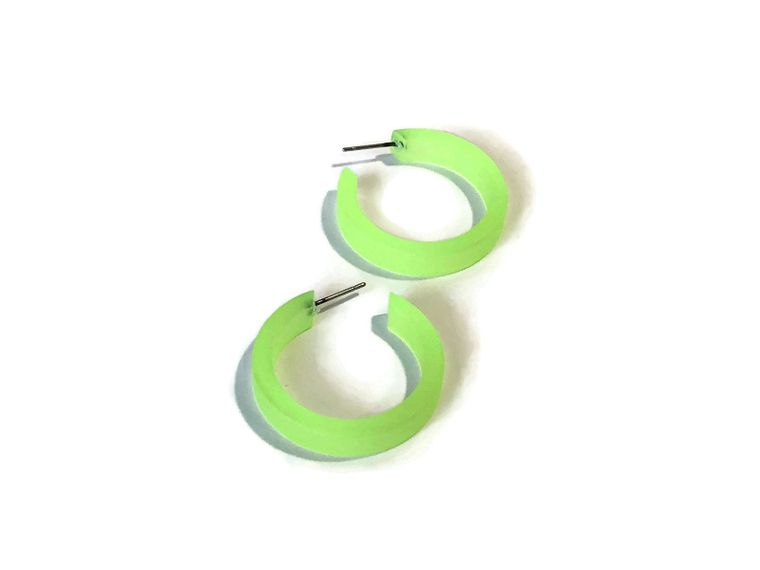 Neon Green Frosted Small Classic Hoop Earrings