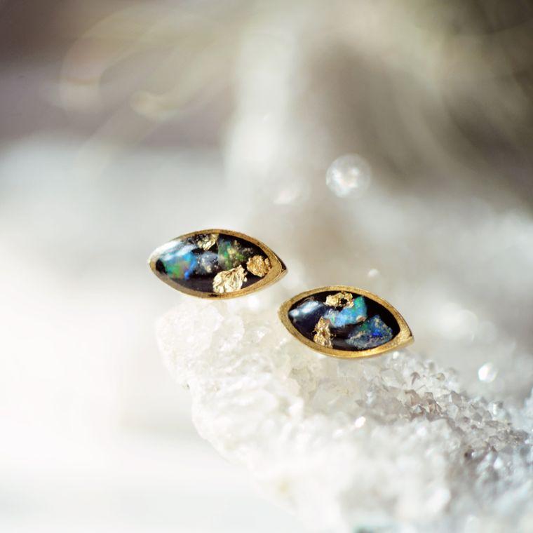 Opal Marquise Post Earring