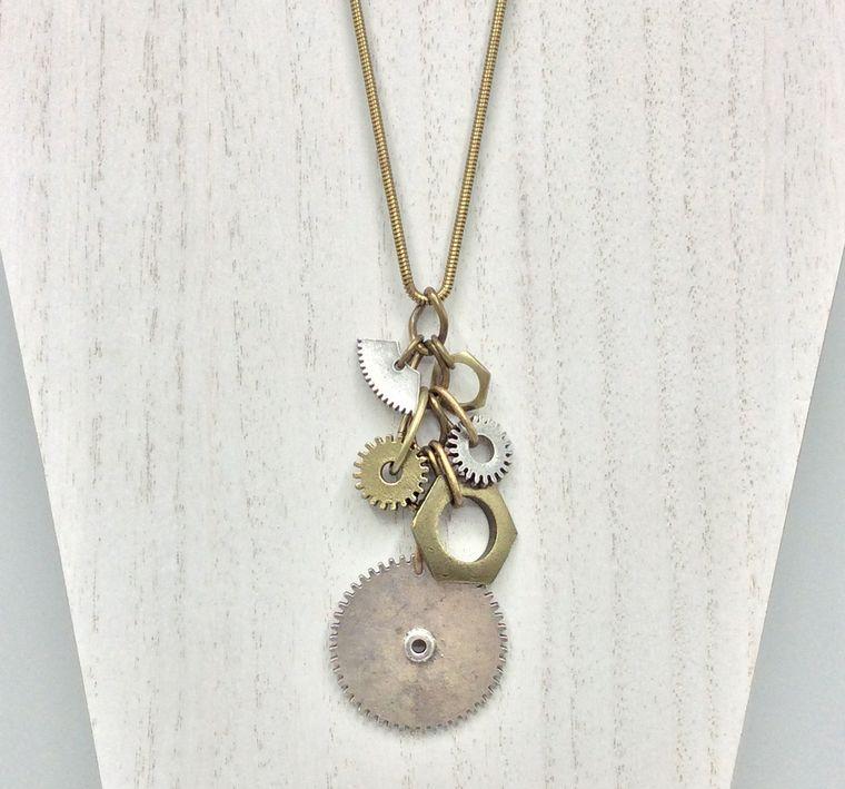 Gear Charm Pendant Necklace - 4433