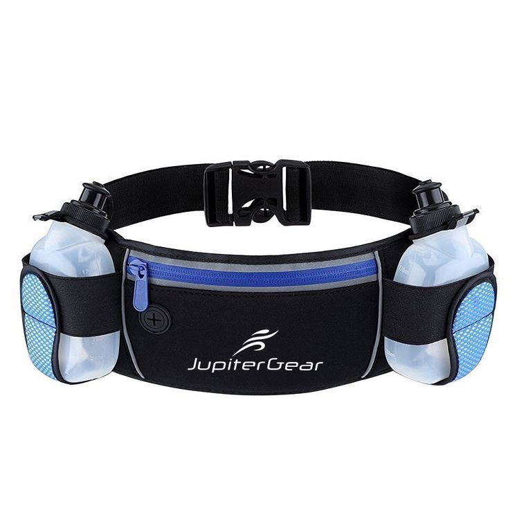 Running Hydration Belt Waist Bag with Water-Resistant Pockets and 2 Water Bottles for Outdoor Sports