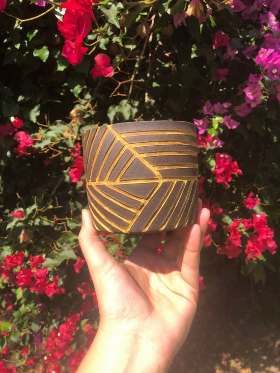 Carved Ceramic Planter - Made to Order