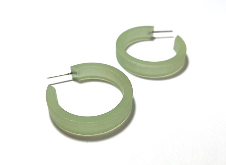 Sage Green Frosted Small Classic Hoop Earrings