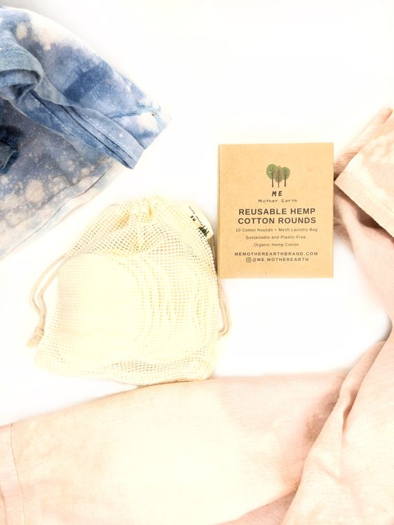 Hemp Cotton Rounds 10 Pack with Mesh Cotton Laundry Bag
