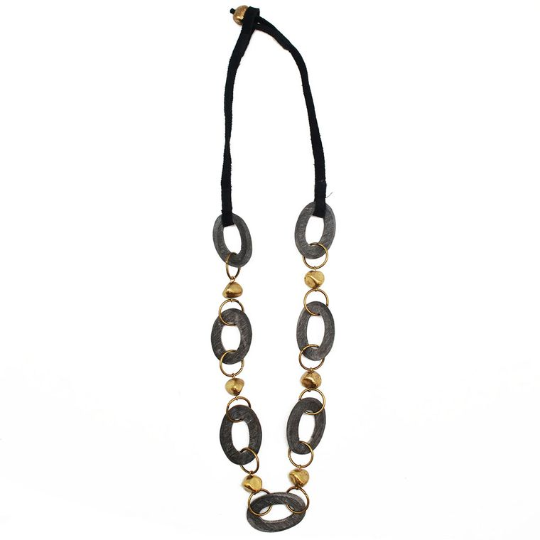 Omala Grey Links with Brass Nuggets Necklace