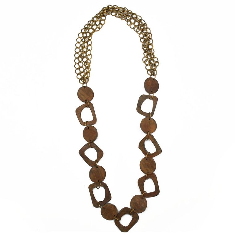 Omala Brown Abstract Shapes with Brass Chain Necklace