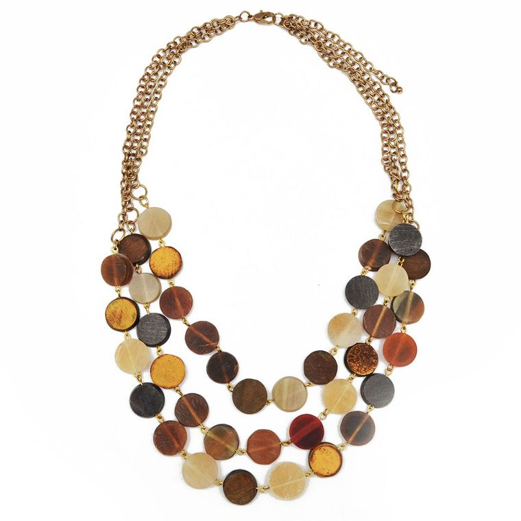 Omala Three Layers of Multicolor Circular Beads Necklace