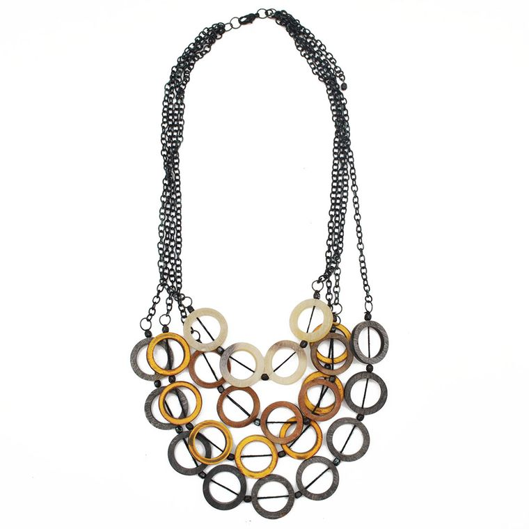 Omala Four Layers Multicolor Open Circles Necklace