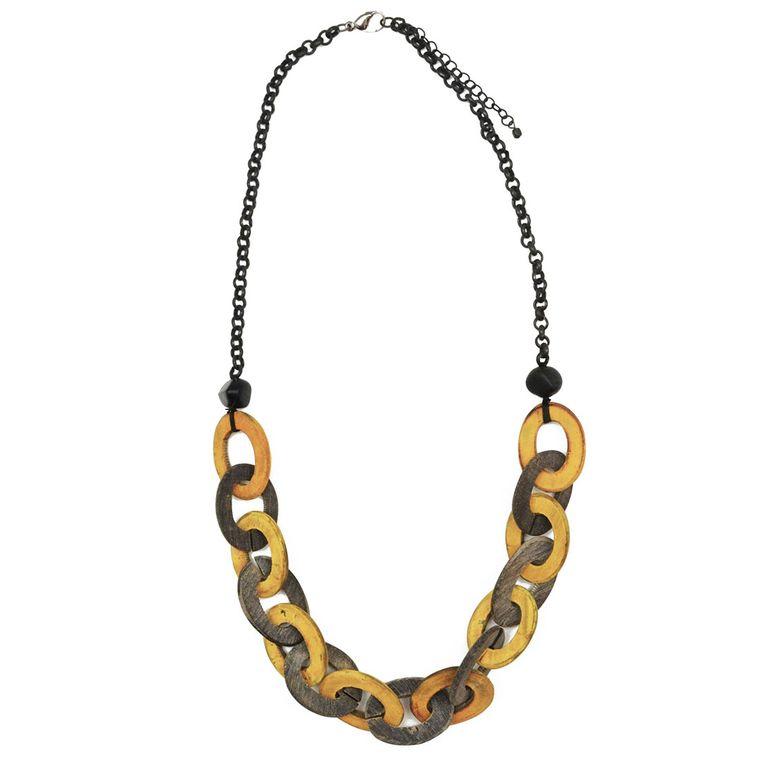 Omala Grey/Yellow Links Matte Black Chain Necklac