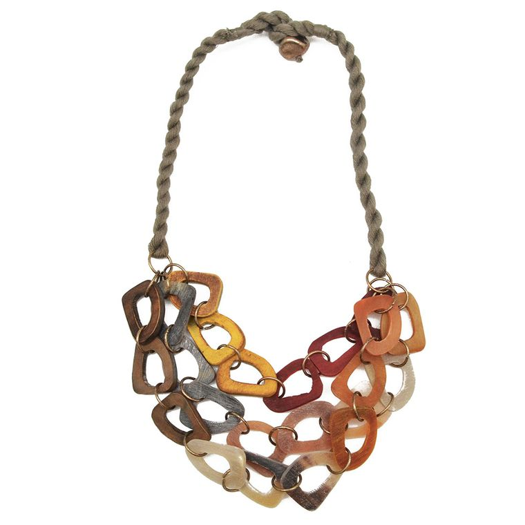 Omala Three Layers Abstract Red/Yellow/Neutral Beads Necklace