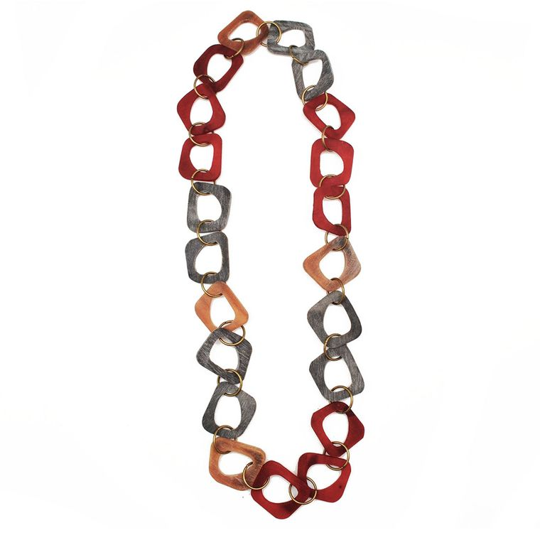 Omala Red/Grey/Linen Abstract Shapes Long Necklace