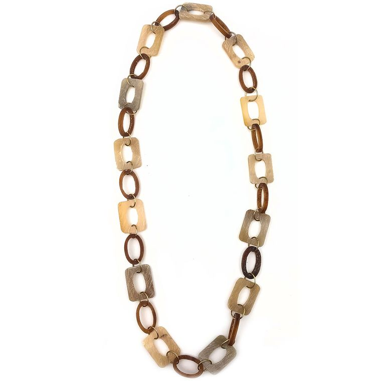 Omala Linen Rectangle and Tan Oval Beads Necklace