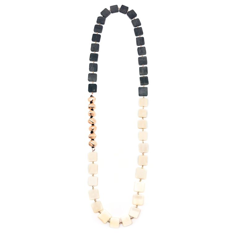 Omala Grey and White Squares with Copper Nuggets Necklace