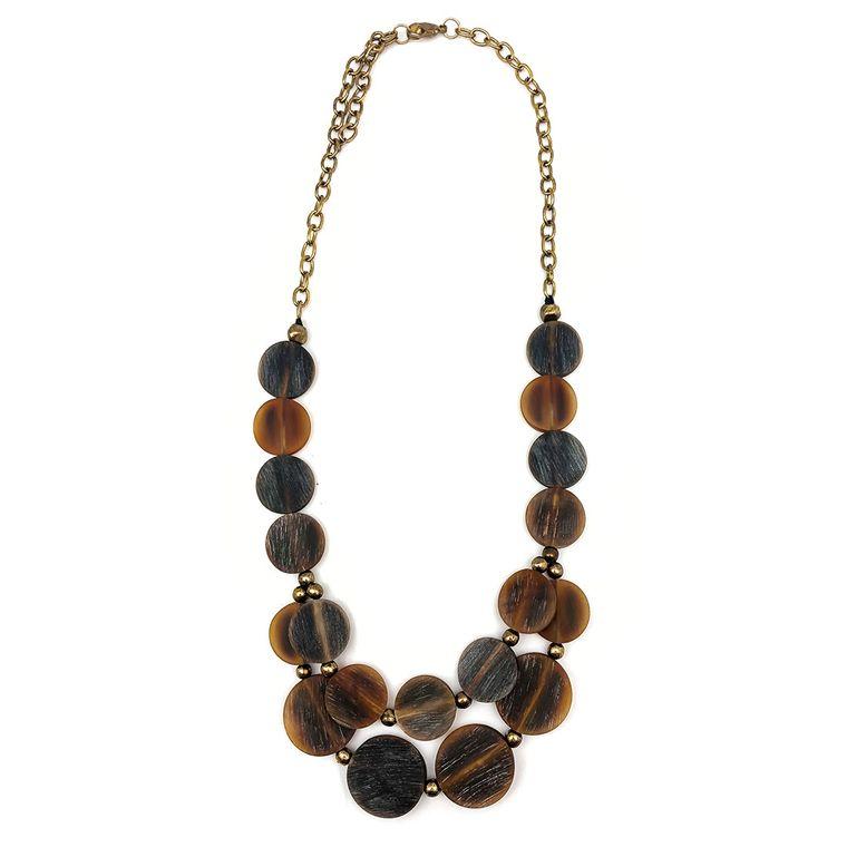 Omala Two Layers Brown Circle Beads Bib Necklace