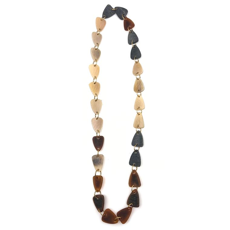 Omala Linen/Brown/Grey Rounded Triangle Beads Long Necklace