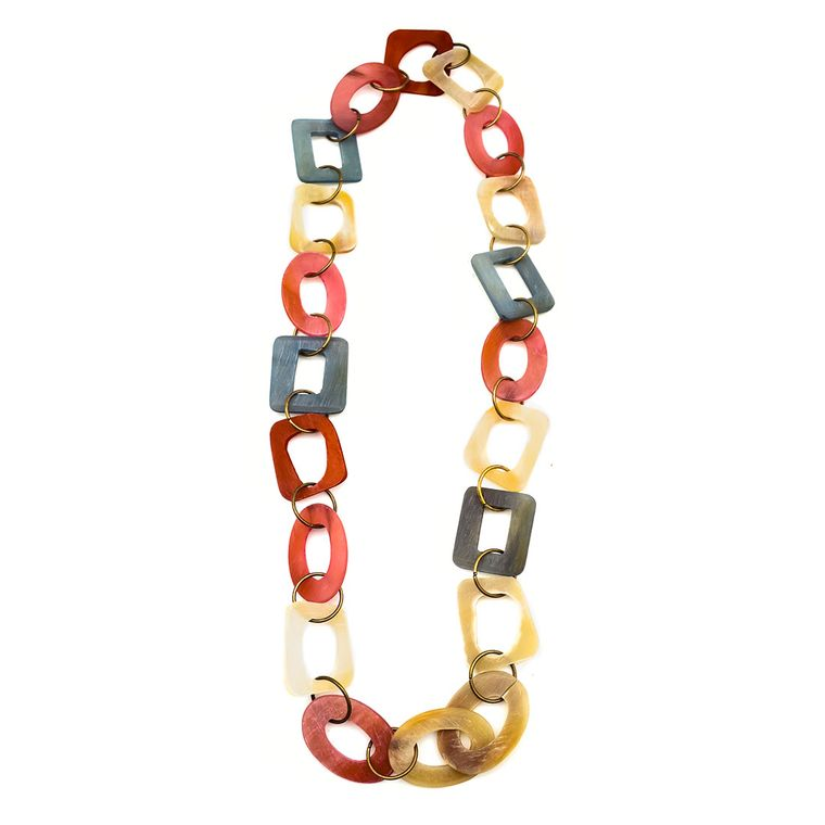 Omala Pink/Red/Grey/Linen Large Links Necklace