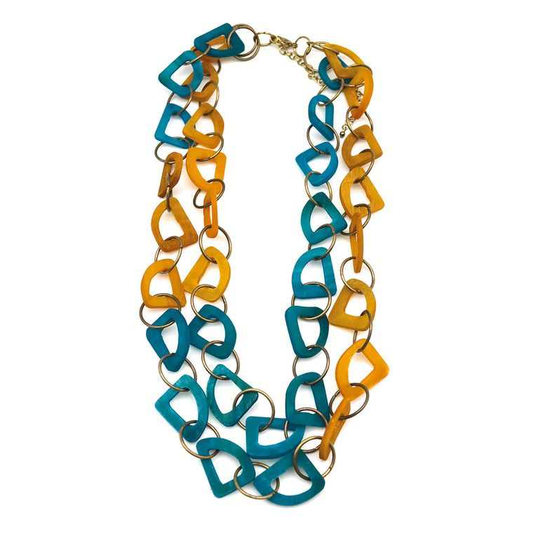 Omala Tan and Blue Abstract Layered Statement Necklace