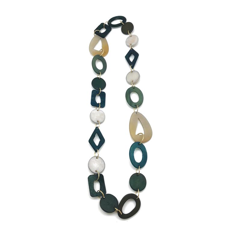 Omala Necklace - Mixed Shapes Links with Solid Circles