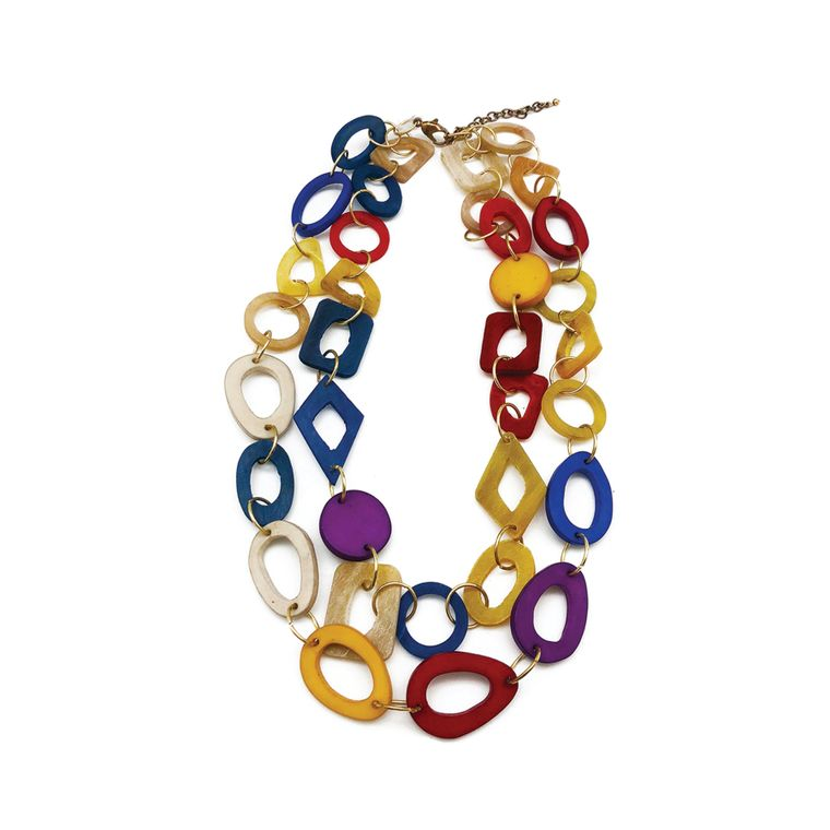 Omala Necklace - Double Strand Ovals and Circles, Red/Yellow/Purple/Blue