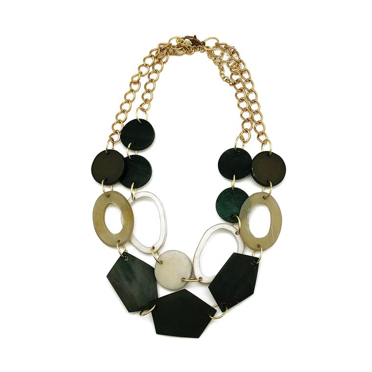 Omala Necklace - Dual Layer Bib Necklace - Round and Pentagon Shaped Beads, Black/Grey