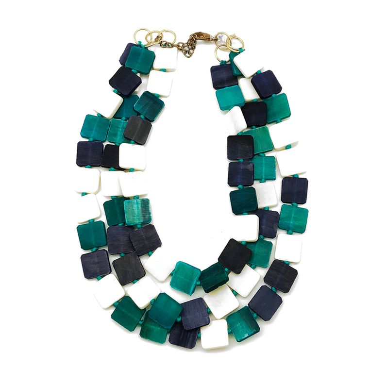 Omala Necklace - Triple Layer Bib Necklace with Square Beads, Turquoise/White/Navy