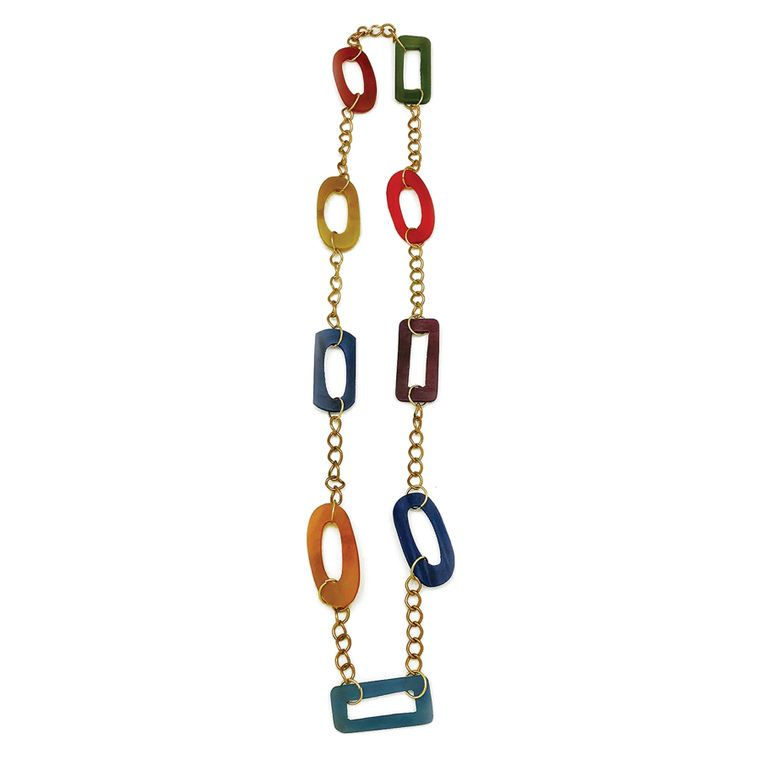 Omala Necklace - Station Necklace with Rectangles and Ovals, Rainbow Colors