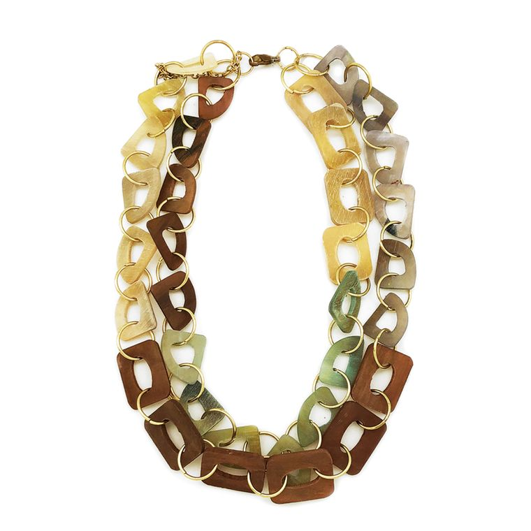 Omala Necklace - Dual Layer Bib Necklace - Rectangle and Abstract Beads, Brown/Tan
