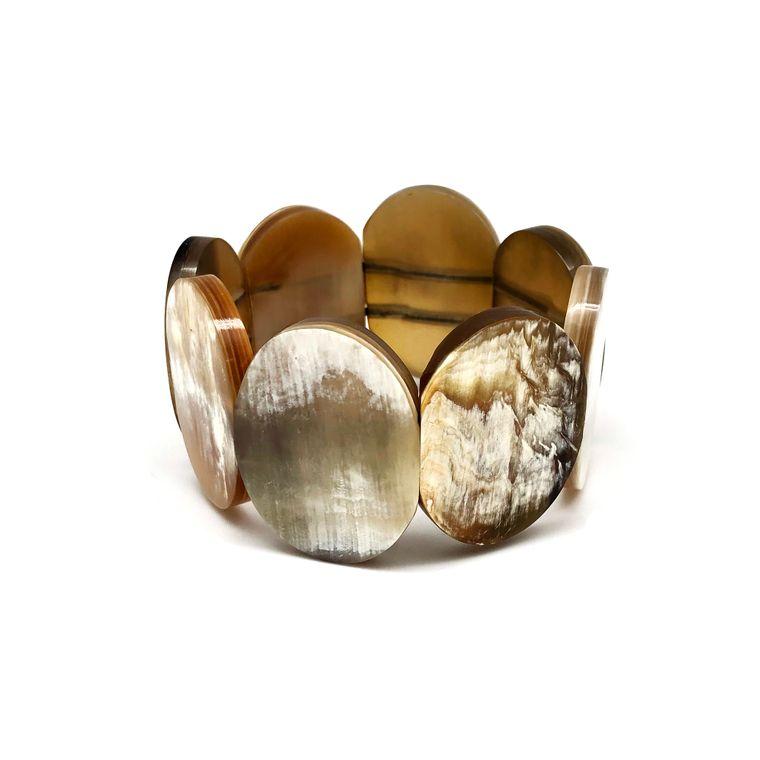 Omala Bracelet - Oval Polished Horn Elastic Cuff