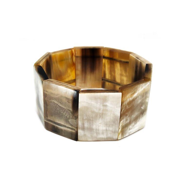 Omala Bracelet - Rectangle Polished Horn Elastic Cuff