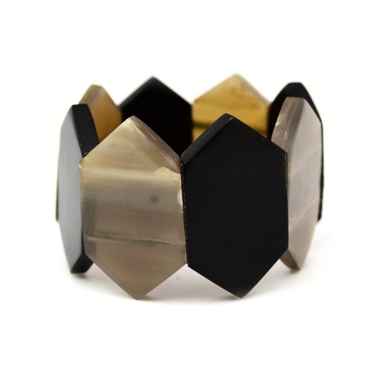 Omala Bracelet - Hexagon Polished Horn Elastic Cuff