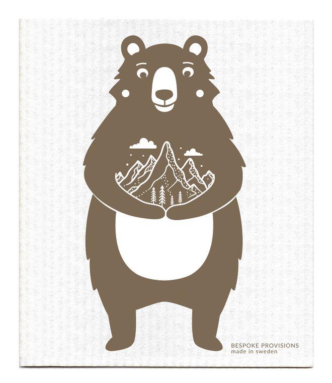 Bear with Mountains Swedish Dishcloth