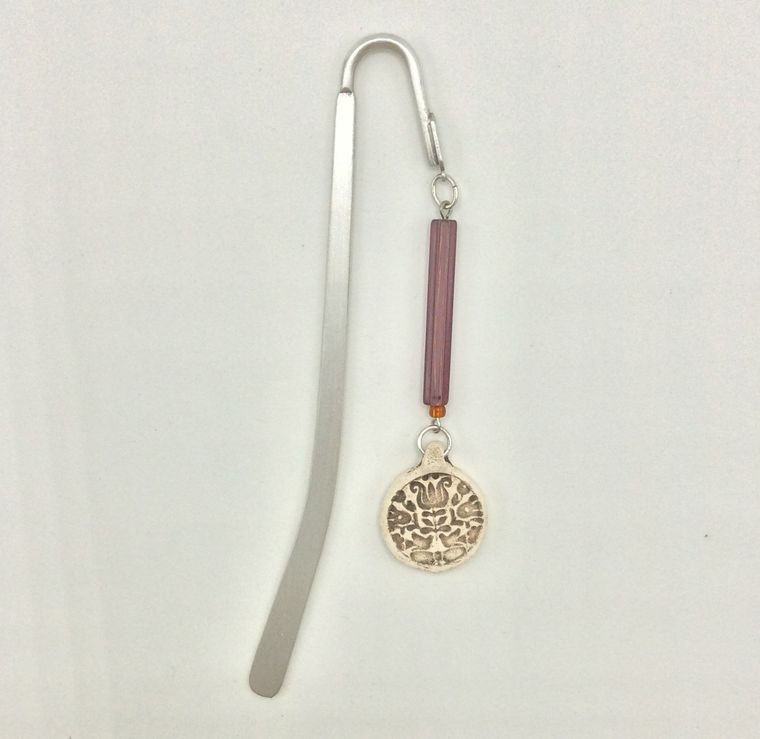 spine bookmark with assorted clay medallions - BK76