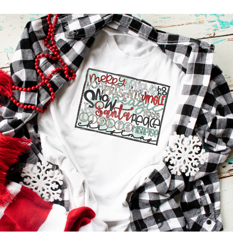Merry Christmas Word Collage Adult Tee