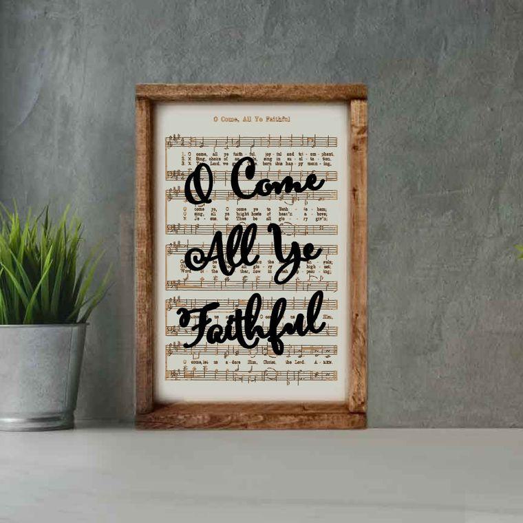 Engraved Christmas Carol O Come All Ye Faithful