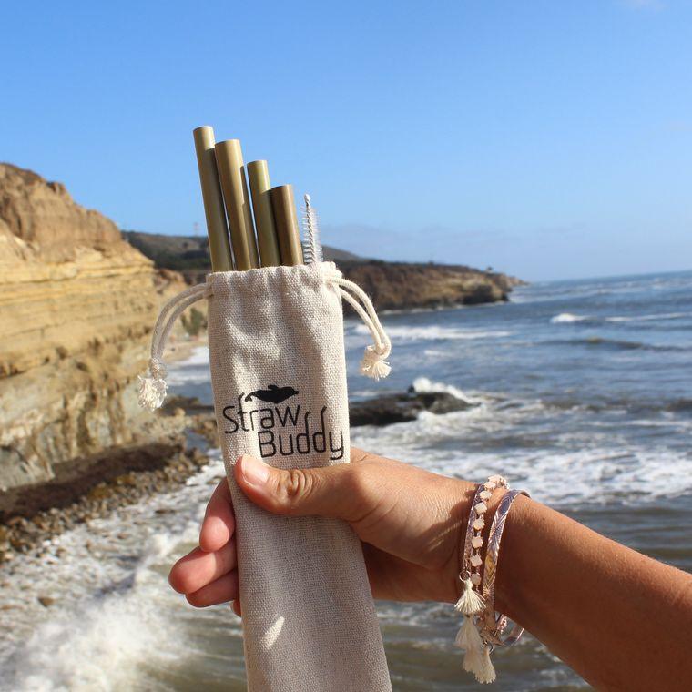 Straw Buddy Bamboo Straw Pack - 4x bamboo straws