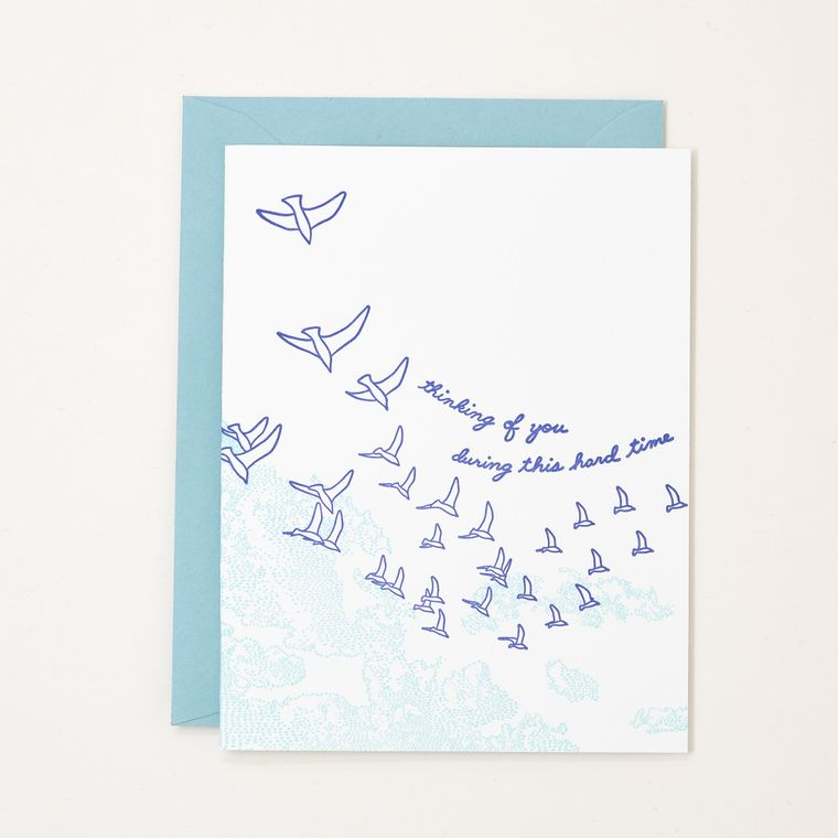 Thinking of You Birds Letterpress Card