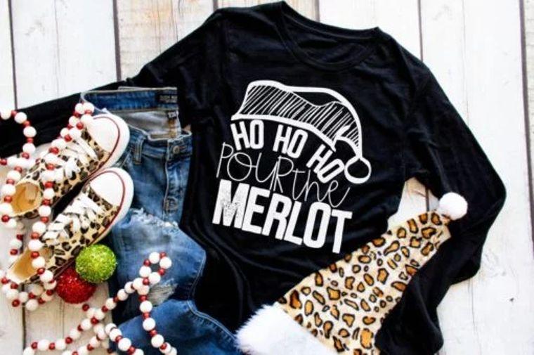 Ho Ho Ho Pour the Merlot Adult Long Sleeve Tee