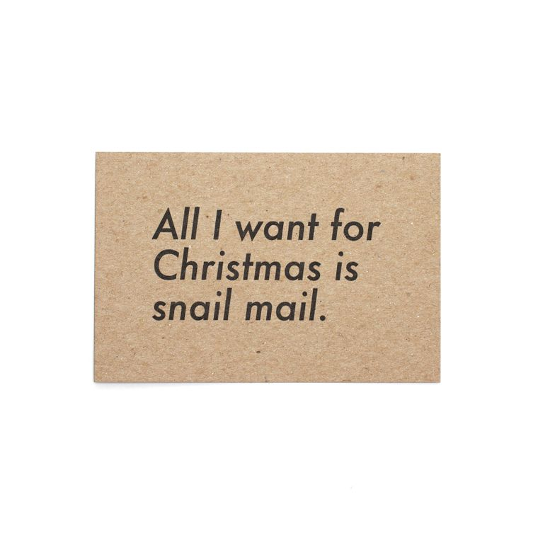 All I Want For Christmas Is Snail Mail Postcard