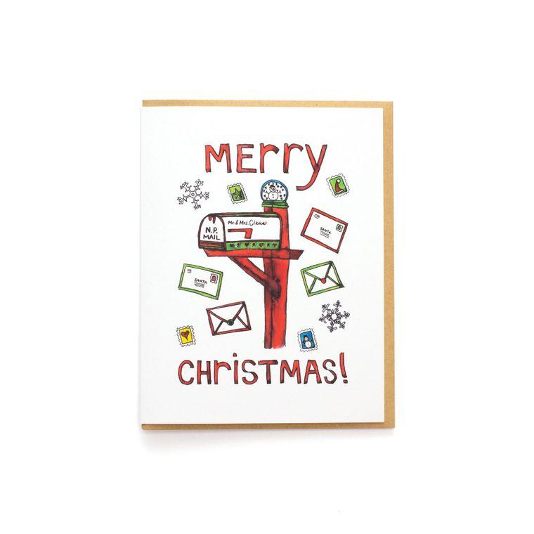 Merry Christmas Mailbox Card - Claus Family