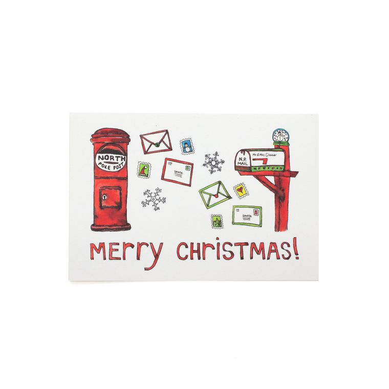 Merry Christmas Mailboxes Postcard
