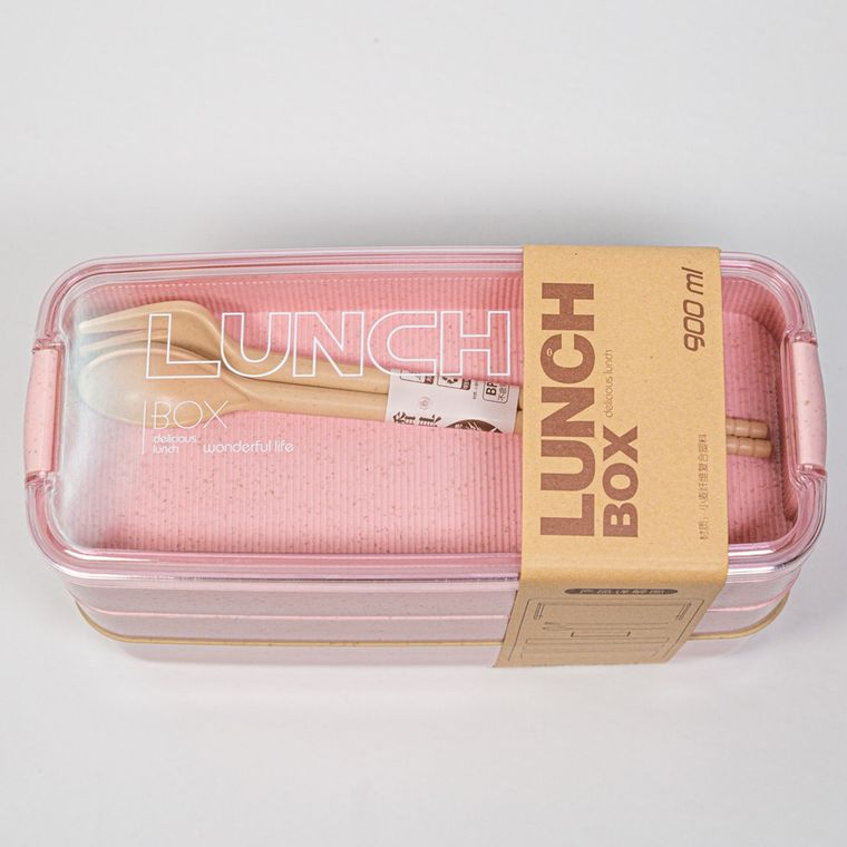 3-tier wheat fiber lunch box - Pink