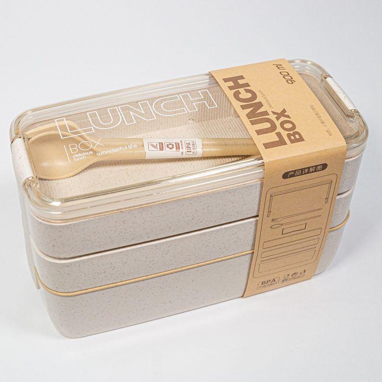 3-tier wheat fiber lunch box - Beige