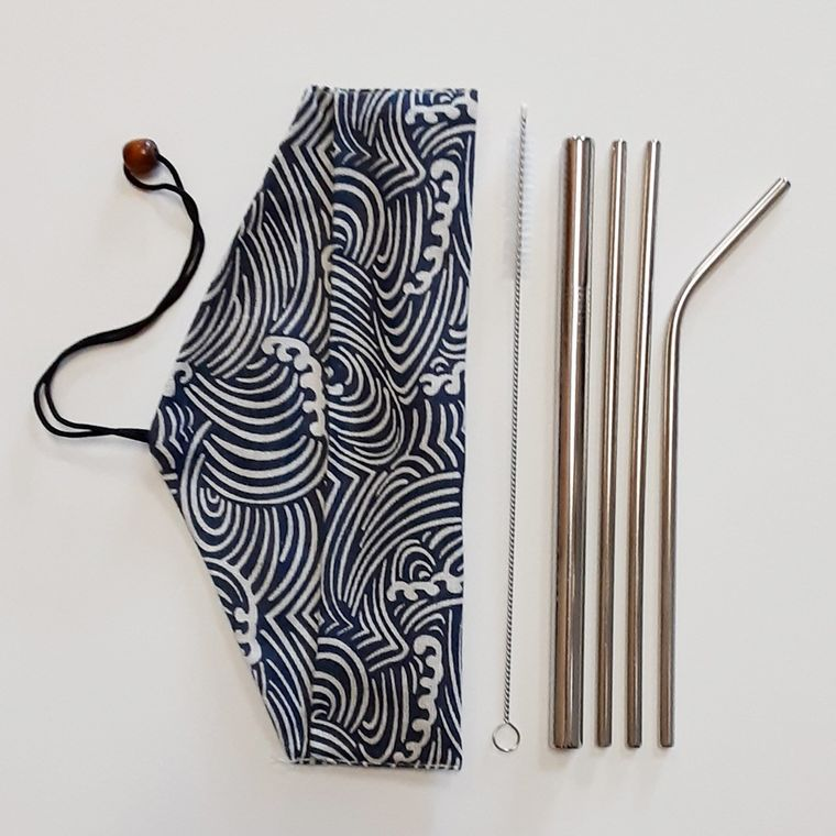 Reusable stainless steel straw set with pouch - Great Wave