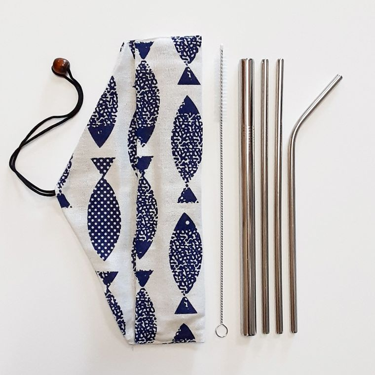 Reusable stainless steel straw set with pouch - Fish
