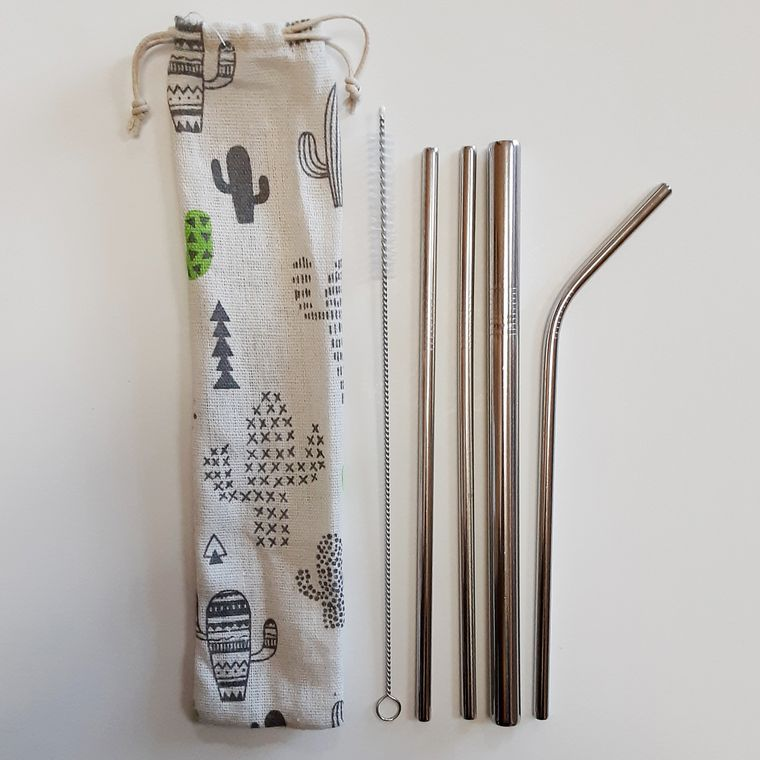 Reusable straw set with Cactus drawstring pouch