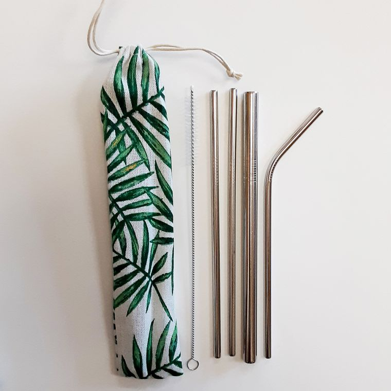 Reusable straw set with Palm Frond drawstring pouch