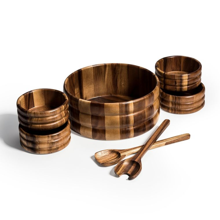 7 Piece - Extra Large Salad Bowl with Servers and 4 Individuals
