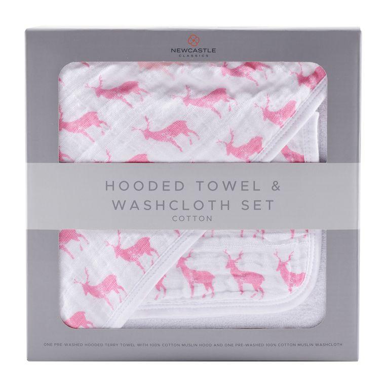 Pink Deer Hooded Towel and Washcloth Set