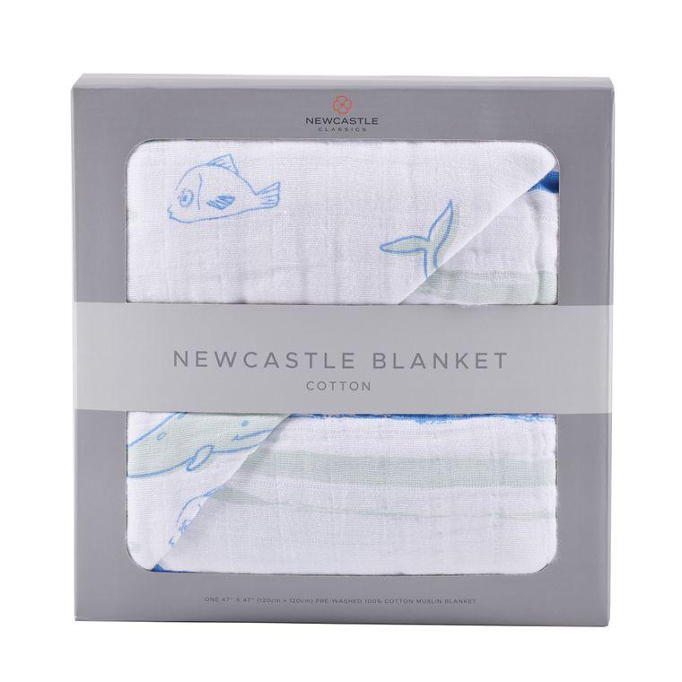 Whale and Ocean Stripe Newcastle Blanket